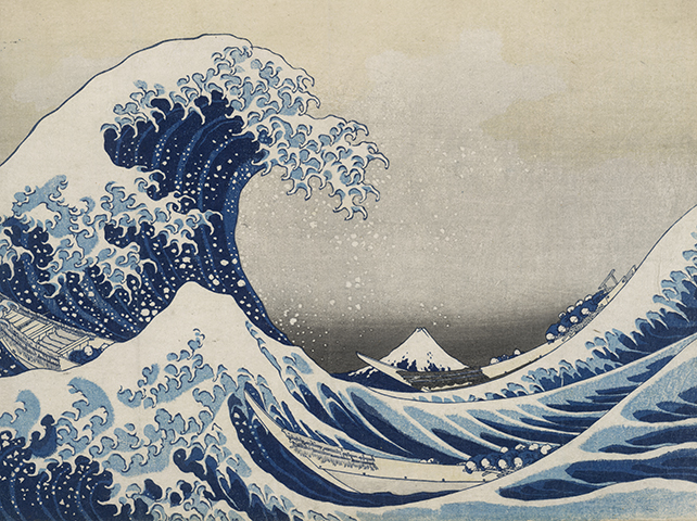 Under the wave off Kanagawa (The Great Wave) from Thirty-six views of Mt Fuji. Colour woodblock, 1831.