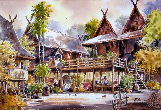 thailand-watercolor-painting-thanakorn-chaijinda-1